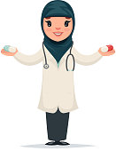 Arab Female Girl Cute Doctor with Pills Hands Character Isolated Icon Medic Retro Cartoon Design Vector Illustration