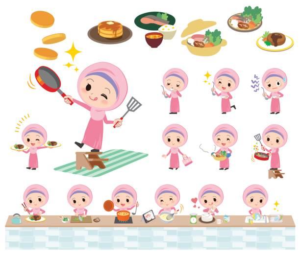 ilustrações de stock, clip art, desenhos animados e ícones de arab girl cooking - fail cooking