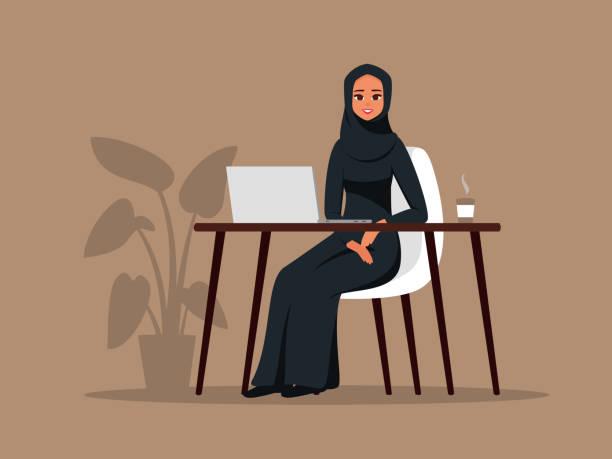 阿拉伯女孩在家中或辦公室工作與筆記本電腦 - emirati woman 幅插畫檔、美工圖案、卡通及圖標