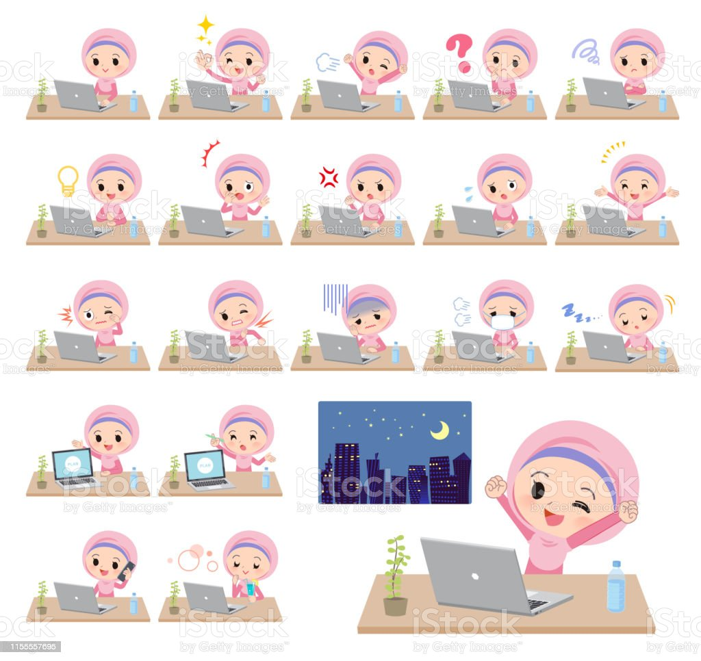 A set of Islamic girl on desk work.There are various actions such as...
