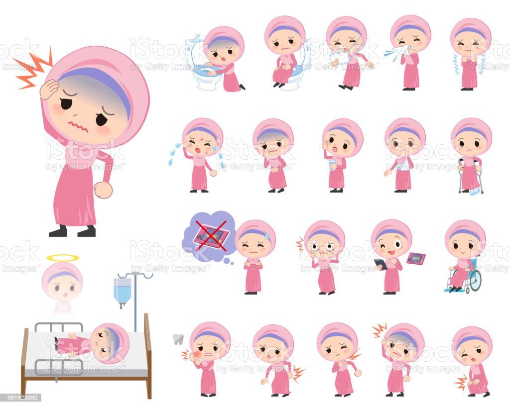 Arab Hijab style girl_sickness vector art illustration