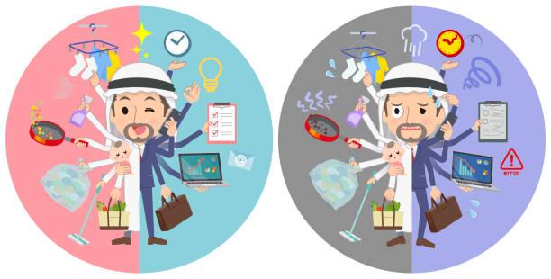 ilustrações de stock, clip art, desenhos animados e ícones de arab kandura men_mulch task switch - fail cooking