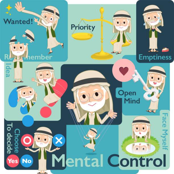 arab kandura old men_mental - old man puppet stock illustrations, clip art, cartoons, & icons