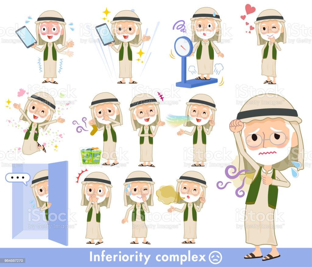 Arab Kandura wearing old men_complex vector art illustration