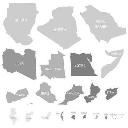 Arab League Countries maps set