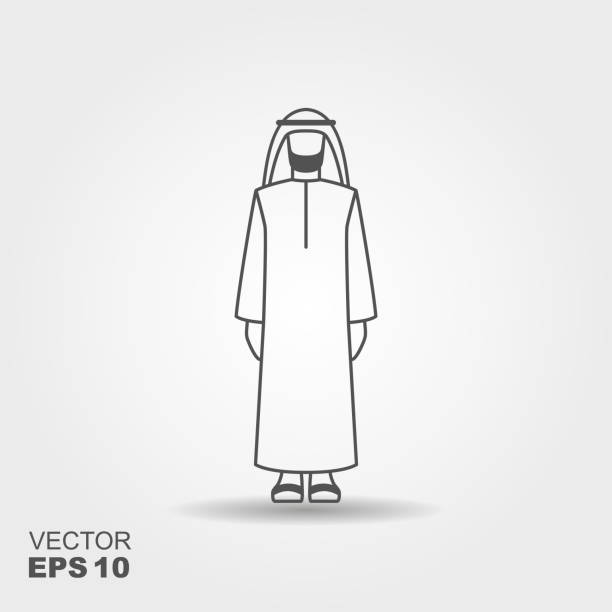 arab man in traditional clothes. vector flat icon with shadow - arab stock illustrations