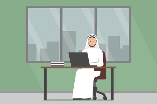 Arab man in white dishdasha working on laptop in office. Vector illustration
