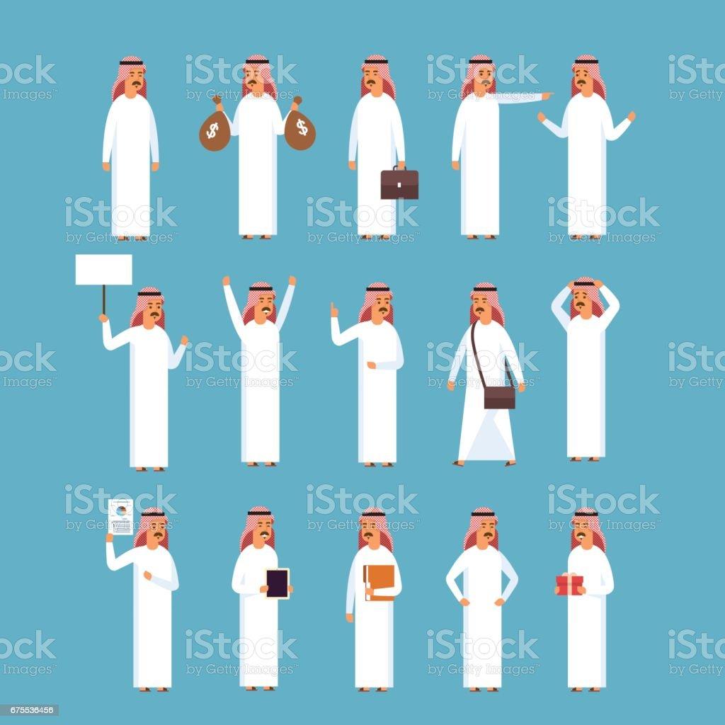 Arabischer Mann Set Islam Geschaftsmann Tragt Traditionelle Kleidung Sammlung Stock Vektor Art Und Mehr Bilder Von Arabeske Istock