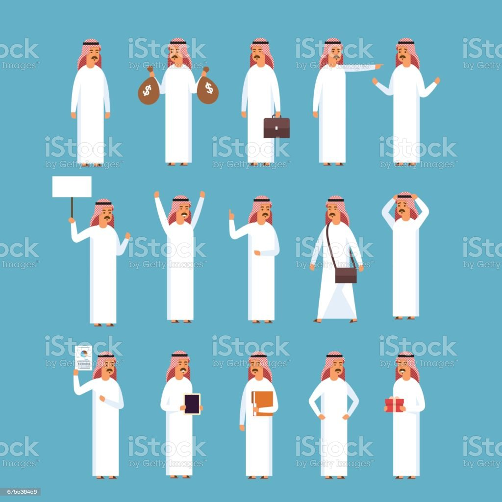 Arab Man Set, Islam Businessman Wearing Traditional Clothes Collection vector art illustration