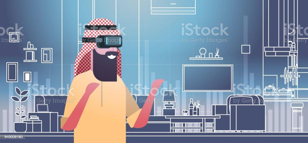 Arabische Mann Mit 3d Brillevirtualrealitykopfhörer über Wohnzimmer ...
