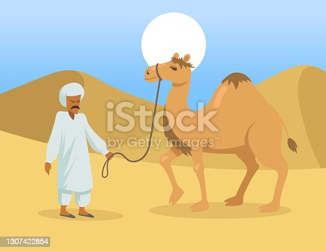istock Arab man with one hump camel in desert 1307422854