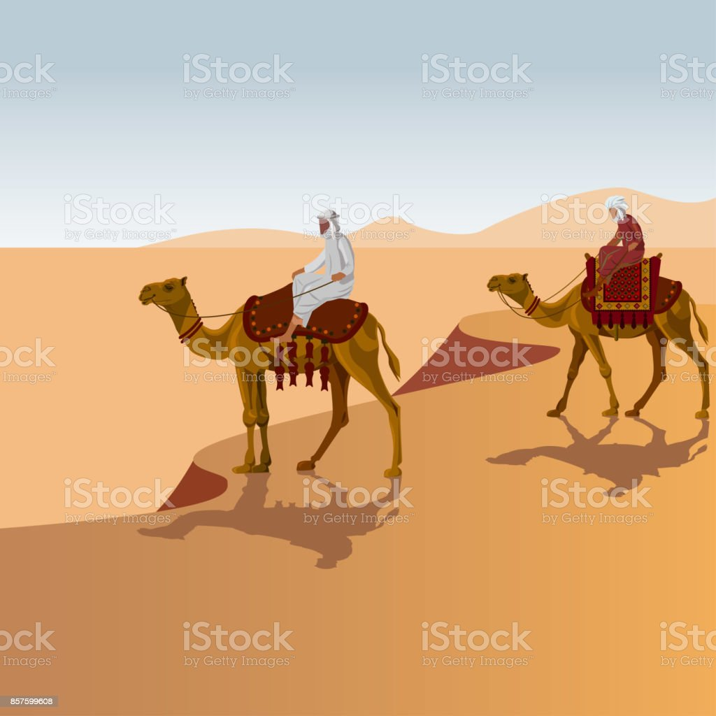 Arab men riding a camel vector art illustration