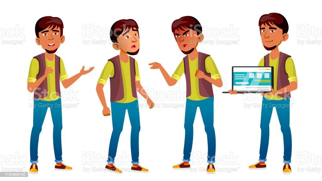 Arab, Muslim Boy Poses Set Vector. High School Child. Programmer, IT...