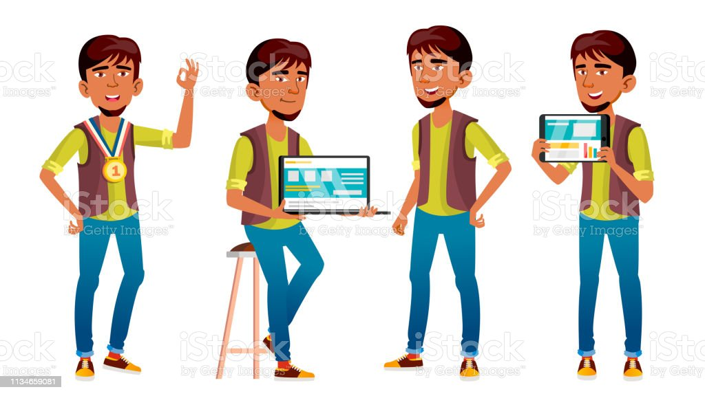 Arab, Muslim Boy Poses Set Vector. High School Child. Programmer,...