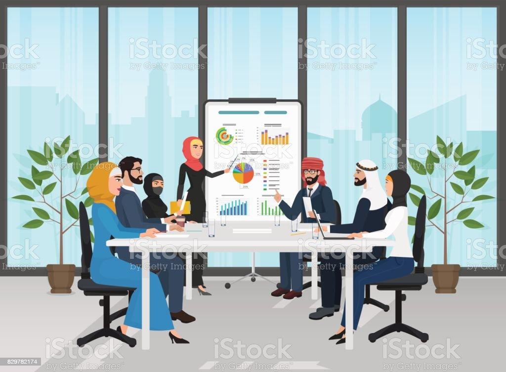 Arab muslim business people group presentation in office. Arabic Businesspeople team training conference. Meeting cartoon flat Vector Illustration. vector art illustration