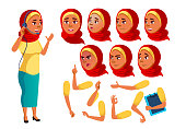 Arab, Muslim Teen Girl Vector. Teenager. Funny. Online Consultant. Worker. Face Emotions, Various Gestures. Animation Creation Set. Isolated Flat Cartoon Character Illustration