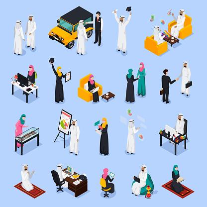 arab muslims saudi modern isometric people