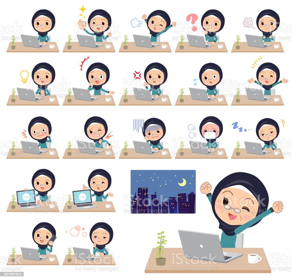 Arab old women_desk work