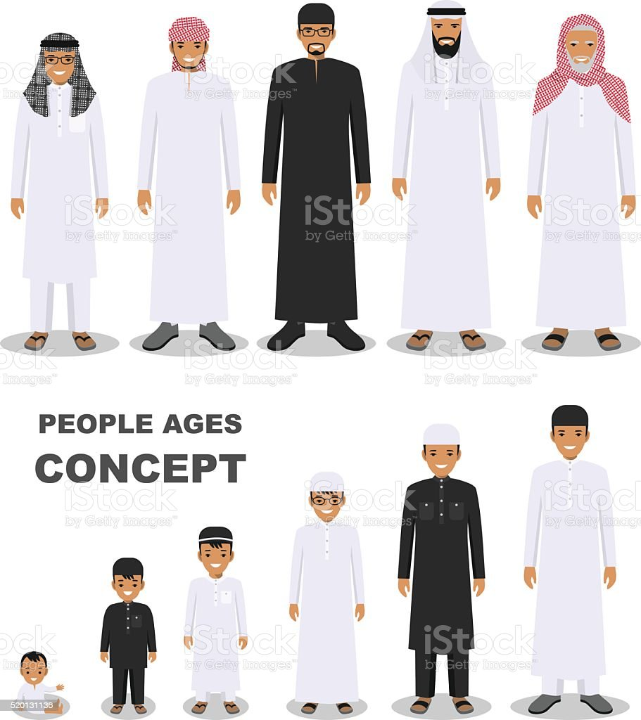 Arab people generations at different ages isolated on white background. vector art illustration