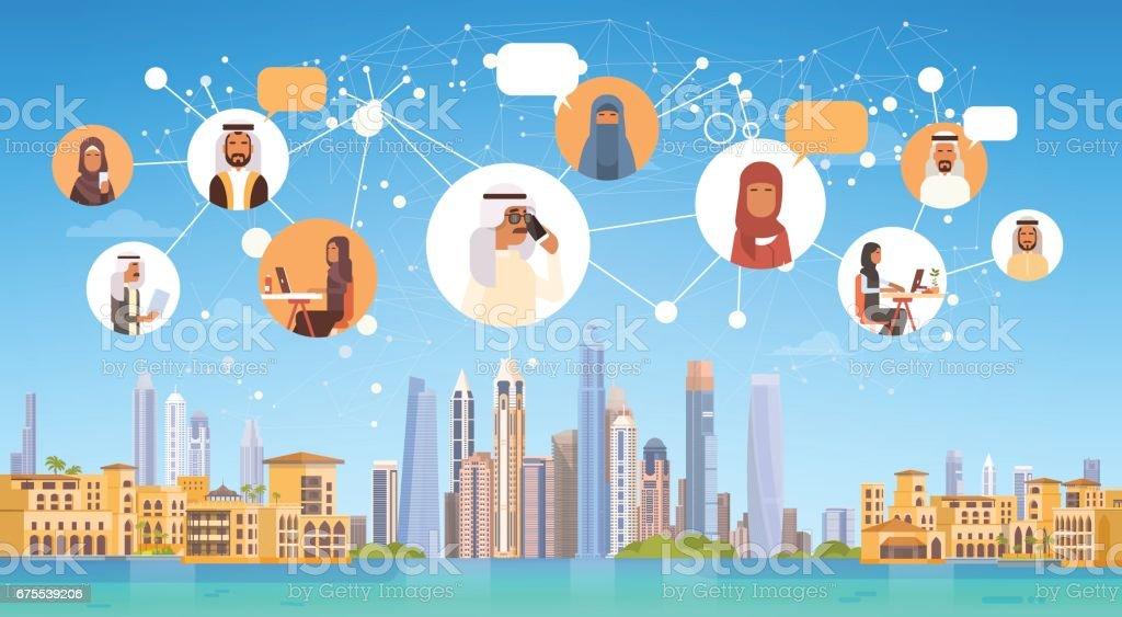 Arap insanların bağlantı sohbet medya iletişim sosyal ağ üzerinde şehir arka plan royalty-free arap insanların bağlantı sohbet medya iletişim sosyal ağ üzerinde şehir arka plan stok vektör sanatı & adamlar'nin daha fazla görseli