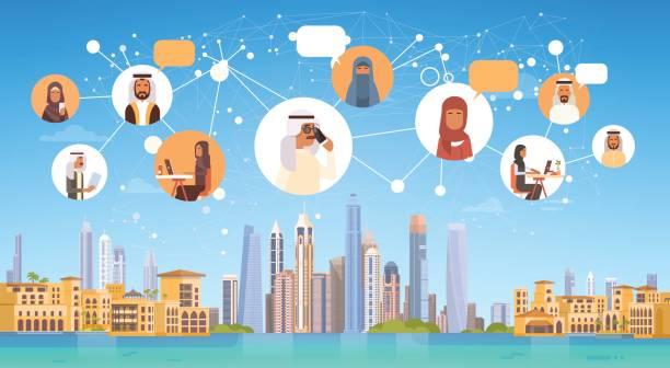 Pueblo árabe con fondo de conexión Chat medios Comunicación Social red sobre ciudad - ilustración de arte vectorial