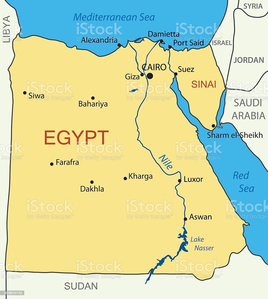 Arab Republic Of Egypt Vector Map Stock Vector Art IStock - Map of egypt vector free