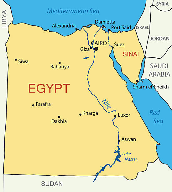 Nile River Clip Art Vector Images Illustrations IStock - Map of egypt nile