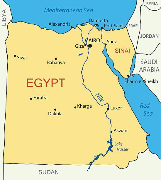 ilustraciones, imágenes clip art, dibujos animados e iconos de stock de república árabe de egipto-vector map - mapa de oriente medio