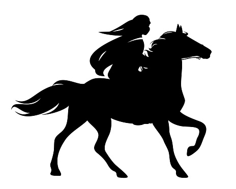 arab rider and running horse black and white vector silhouette