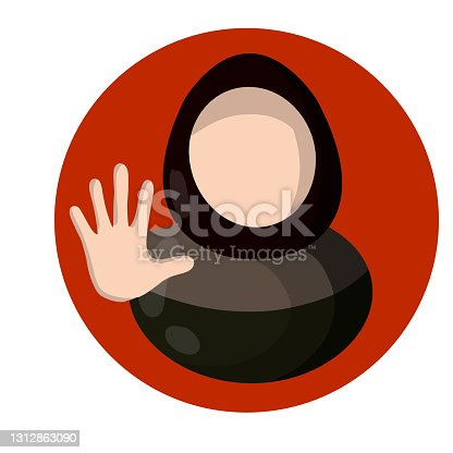istock Arab woman and forbidding palm gesture. Extended arm. Sign to stop. Social flat Sign icon for app. Women's right. Islamic Girl in hijab 1312863090