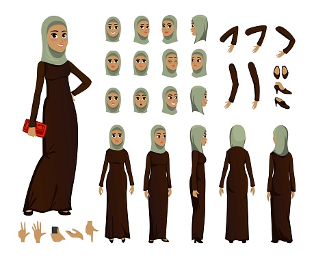 Arab Woman character constructor set in flat style. Muslim girl avatars or icons with different emotions and moving arms and head. Arabic woman wearing traditional clothing front, rear, side view. Cartoon vector illustration.