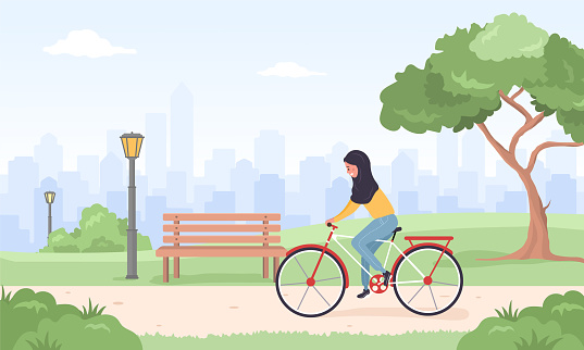 Arab woman in hijab on bicycle rides around city. Spring or summer landscape. Cute happy young girl on bike at park. Sports and leisure outdoor activity. Vector illustration in flat cartoon style