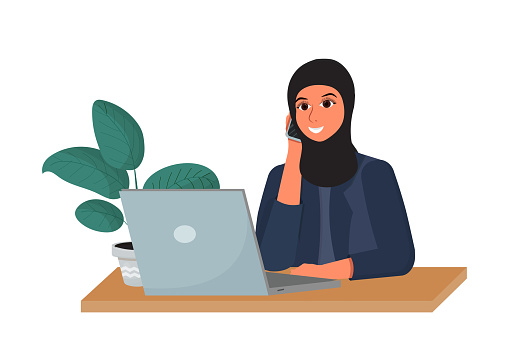 Arab woman in hijab on working place talking by phone and smiling isolated on white background stock vector illustration. Corporate employer, manager with laptop.