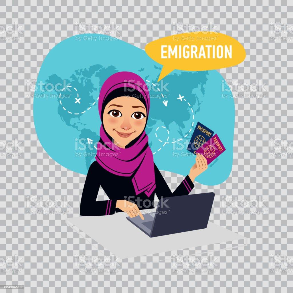 Arab woman woman prepares documents on emigration. Emigration concept. Illustration on transparent background. vector art illustration