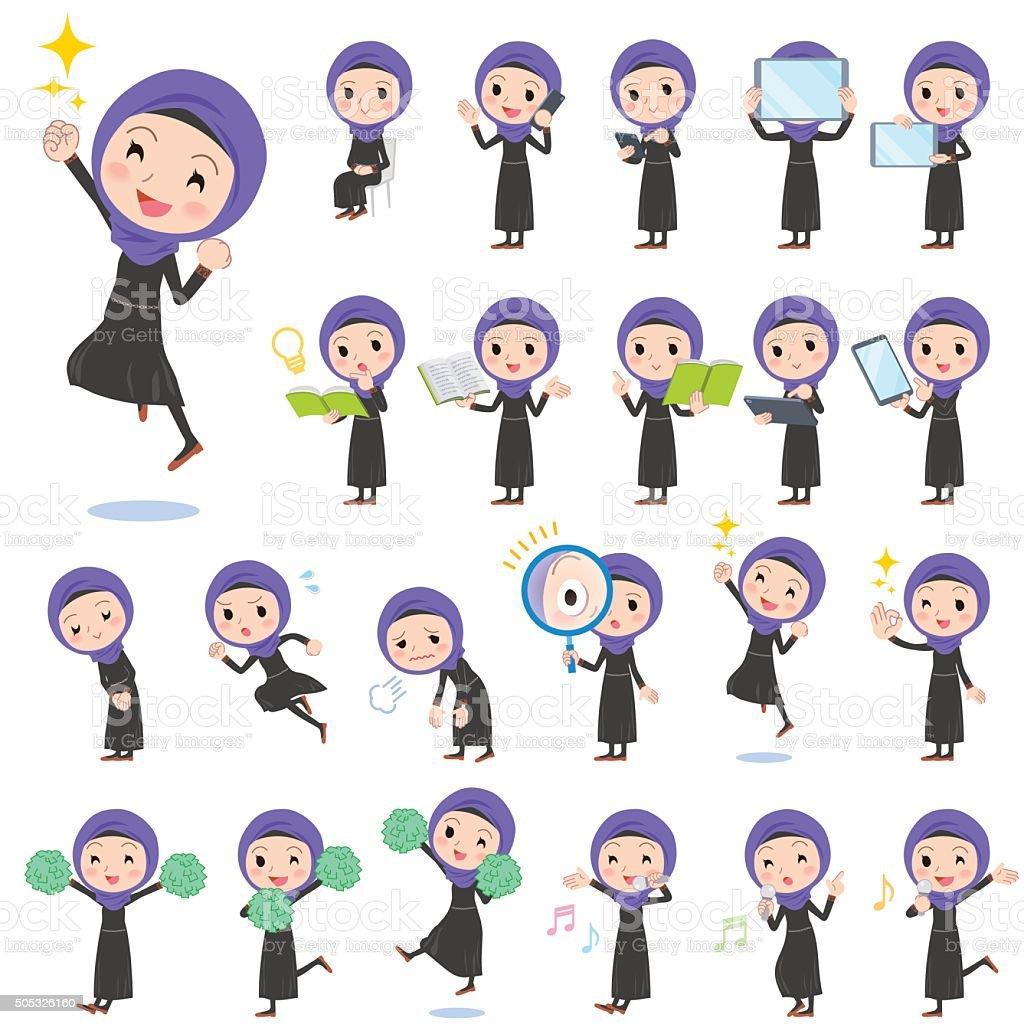 Arab women 2 vector art illustration