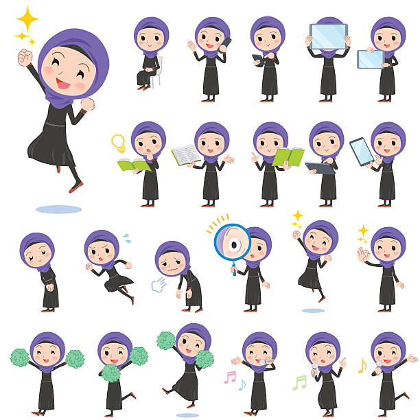 Arab women 2 vector art illustration
