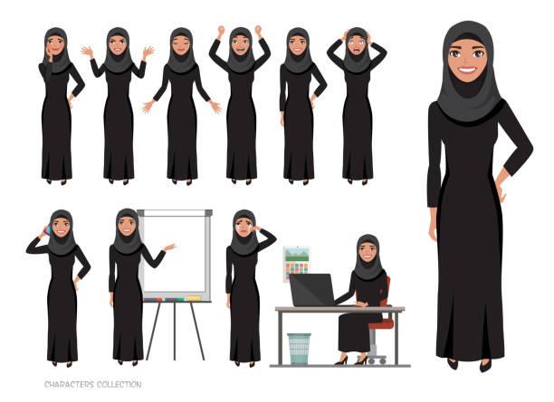 阿拉伯女性性格的情感集合。 - emirati woman 幅插畫檔、美工圖案、卡通及圖標