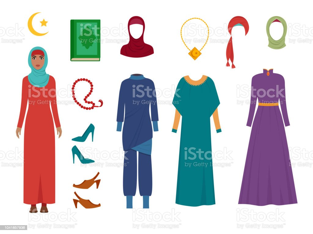 Arab Women Clothes National Islamic Fashion Female Wardrobe Items Headscarf Hijab Dress Iranian Muslims Turkish Girls Vector Pictures Stock Illustration Download Image Now Istock