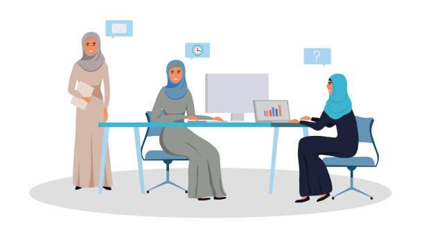阿拉伯婦女小組正在從事一個專案 - emirati woman 幅插畫檔、美工圖案、卡通及圖標