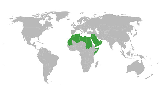 Arab world political map highlighted in green color vector