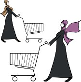 arab young woman pushing a shopping cart