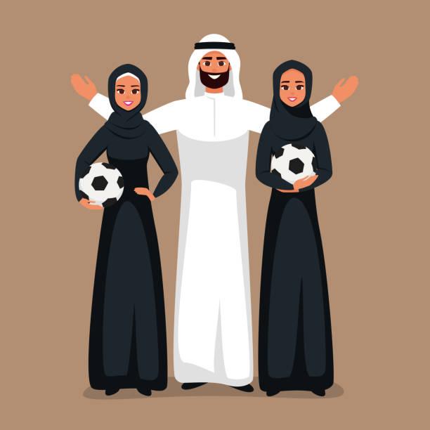 ilustrações de stock, clip art, desenhos animados e ícones de arab young women and arabian man standing together with soccer ball in the hands. - soccer supporter portrait