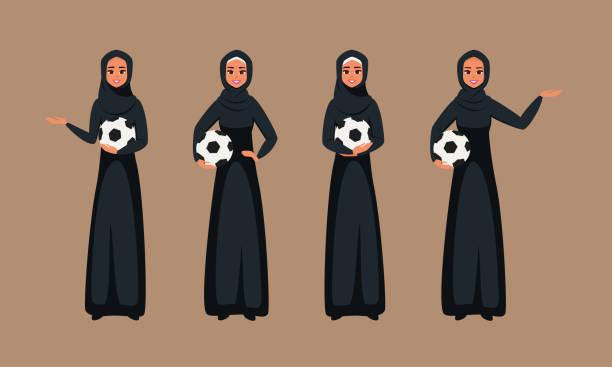 ilustrações de stock, clip art, desenhos animados e ícones de arab young women standing with soccer ball in different poses - soccer supporter portrait