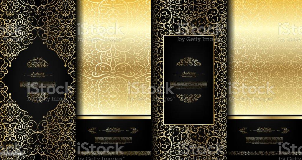 Negro elegante elemento oriental abstractos arabescos y oro fondo plantilla tarjeta vector set - ilustración de arte vectorial