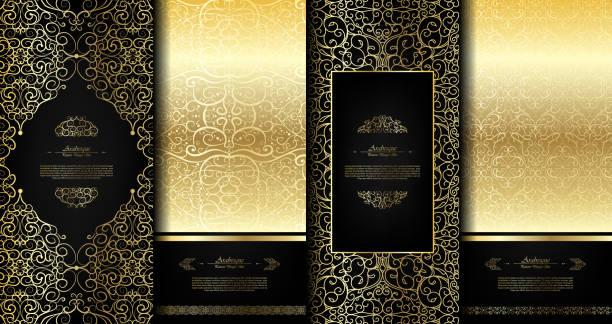 ilustraciones, imágenes clip art, dibujos animados e iconos de stock de negro elegante elemento oriental abstractos arabescos y oro fondo plantilla tarjeta vector set - comida tailandesa