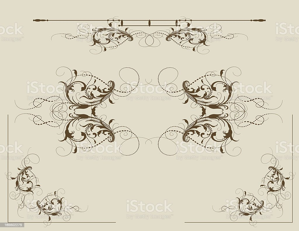 Arabesque and Dot Scroll Set royalty-free stock vector art