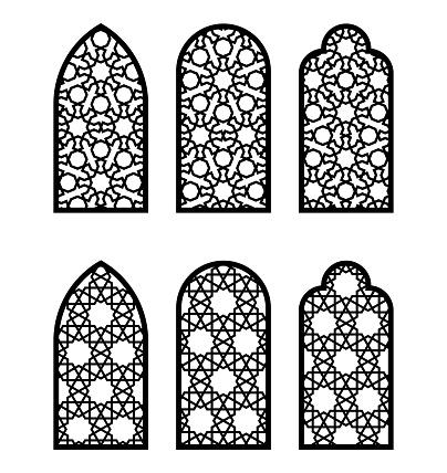 Arabesque arch window or door set. Cnc pattern, laser cutting, vector template set for wall decor, stencil, engraving. Arabesque faux window, arch, jali design.