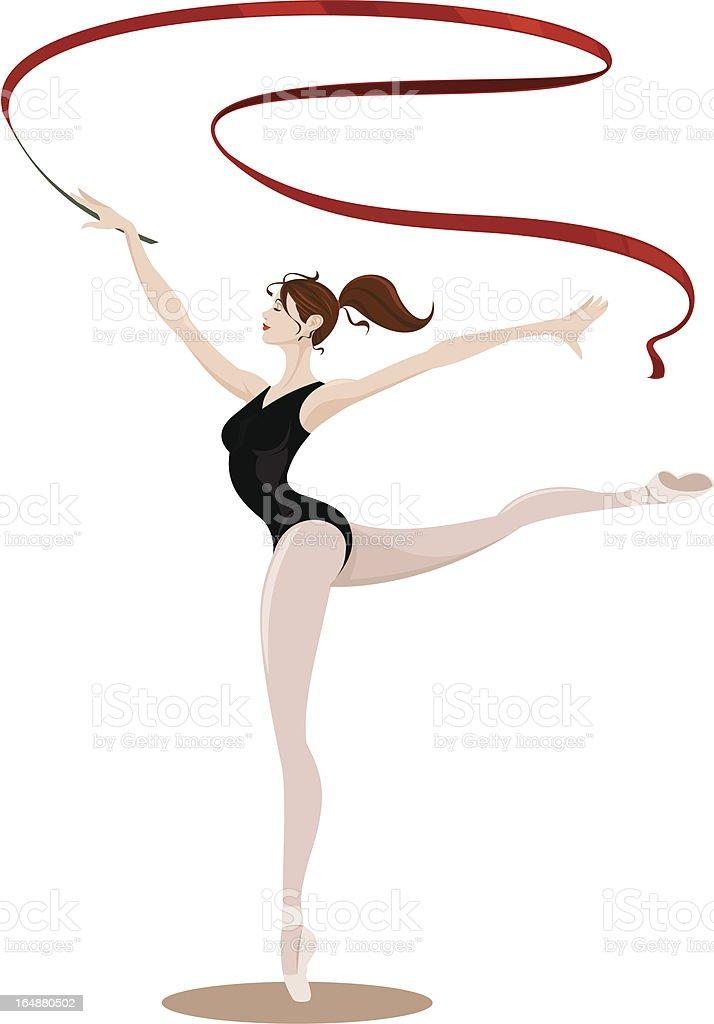 arabesque ballet ribbon dance royalty-free stock vector art