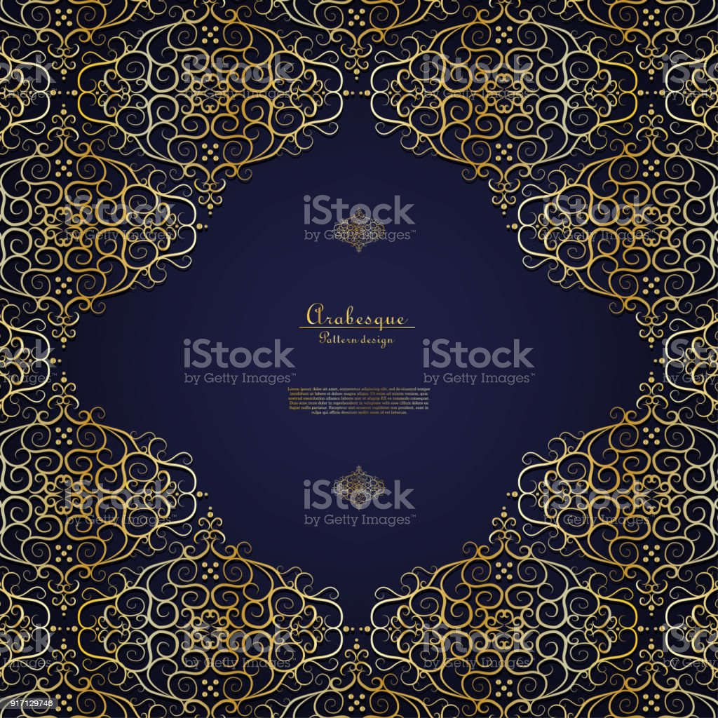 Arabesque Blue Element Gold Flower Background Template Vector Royalty Free