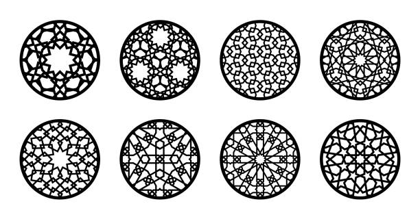 Arabesque circle, round element set for laser cutting ,stencil, engraving. Geometric round arabic pattern for glass stand, cup stand, wall hanging, menu stamp design Arabesque circle, round element set for laser cutting ,stencil, engraving. Geometric round arabic pattern for glass stand, cup stand, wall hanging, menu stamp design. decorative laser cut set stock illustrations